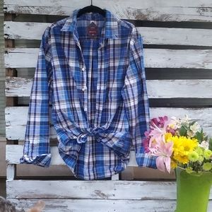 Cute plaid oversized button down purple and blue